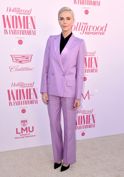 Charlize Theron went the menswear-chic route in a lavender pantsuit by Givenchy at the Hollywood Reporter's Power 100 Women in Entertainment celebration.