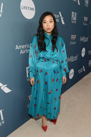 Awkwafina went demure in a loose blue print blouse at the Hollywood Reporter's Power 100 Women in Entertainment event.