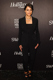Michelle Rodriguez opted for a basic black pantsuit when she attended the Hollywood Reporter and Swarovski party.