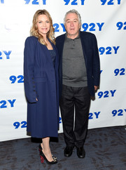 Michelle Pfeiffer arrived for the 'Wizard of Lies' screening wearing a classic blue wool coat.