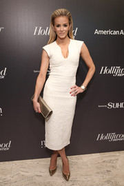 Andrea Rogers looked very classy in an embossed white midi dress during the 35 Most Powerful People in Media event.
