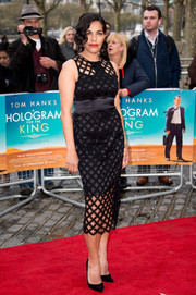 Sarita Choudhury looked effortlessly elegant in her little black lattice dress during the UK premiere of 'A Hologram for the King.'