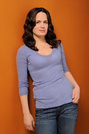 Elizabeth goes cas for the Sundance Film Festival portraits in a periwinkle t-shirt.
