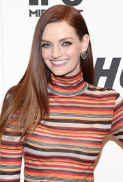 Lydia Hearst looked like a walking shampoo ad with her super-sleek hairstyle during the '#Horror' New York premiere.