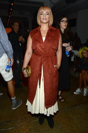 Dascha Polanco attended the Houghton fashion show looking cool and edgy in her long red vest.