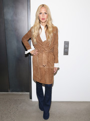 Rachel Zoe looked all set for fall in a tan suede coat while attending the House of Gant presentation.