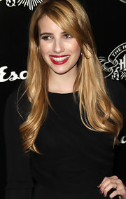 Emma Roberts was all smiles as she arrived at the House of Hype's 2011 MTV Video Music Awards after party with bright, cherry red lips.