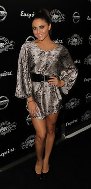 Cassie Scerbo opted for a python print mini dress for the VMA after party.