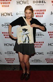 Greta Gerwig showed off her statement-making canvas tote at the New York screening of 'Howl.'