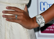 Danielle sported a diamond covered dial watch with a white leather strap.
