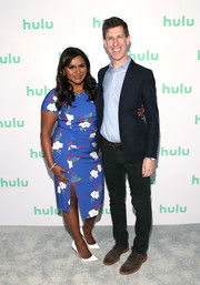 Mindy Kaling kept it ladylike in a blue floral midi dress at the Hulu 2019 Summer TCA Press Tour.