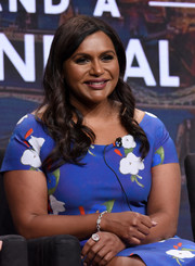 Mindy Kaling added more glamour with a diamond bracelet.