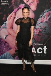 Chloe Sevigny looked flirty in a sheer-panel LBD by Simone Rocha at the New York premiere of 'The Act.'