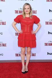 Elisabeth Moss went for a twee red mini dress by Self-Portrait at the 'Handmaid's Tale' season 3 finale celebration.