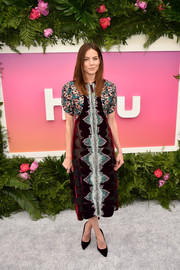 Michelle Monaghan donned a colorful mixed-material midi dress by Mary Katrantzou for the Hulu Upfront brunch.