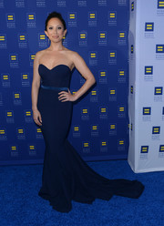 Cheryl Burke went for sexy sophistication in a strapless navy mermaid gown at the Human Rights Campaign Los Angeles Gala.