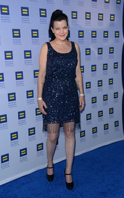 Pauley Perrette channeled the roaring '20s in a fringed blue sequin dress for the Human Rights Campaign Los Angeles Gala.