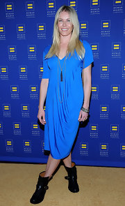 Chelsea Handler donned this languid aqua knit dress with chunky boots to the Human Rights Campaign Gala in LA.