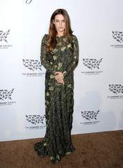 Riley Keough kept it conservative in a printed and embroidered maxi dress at the Humane Society of the United States' To The Rescue Gala.