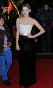 Peaches Geldof looked sensual in a black-and-white Dolce & Gabbana corset dress during the 'Catching Fire' London premiere.