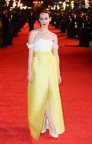 For her 'Mockingjay' London premiere look, Jena Malone chose Emilia Wickstead separates. The top was a white off-the-shoulder bodysuit that lent sex appeal to her overall look.