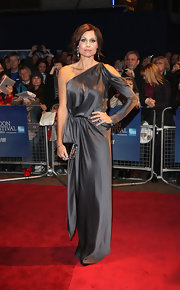 Minnie Driver wore a silk charcoal one-shoulder evening dress with her romantic updo for the London Film Festival's premiere of 'Hunky Dory.'