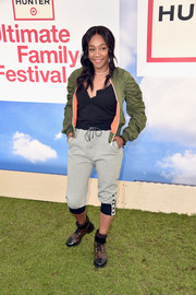 For her footwear, Tiffany Haddish chose a pair of Louis Vuitton combat boots.