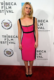 Claire Danes brought out Barbie in this hot pink number at the 'Hysteria' premiere.