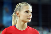 Darya Klishina attended the IAFF World Indoor Championships wearing her long hair in two French braids and a ponytail.