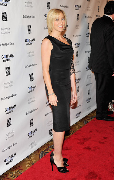 Edie Falco wore a black lace one-sleeve cocktail dress for the Gotham Independent Film Awards.