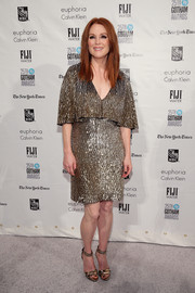 Julianne Moore brought a high dose of sparkle to the Gotham Independent Film Awards with this fully beaded gold cocktail dress.