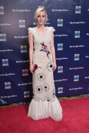Saoirse Ronan looked darling in a Rodarte floral-appliqued lace gown with cap sleeves and a ruffle hem at the 2017 Gotham Independent Film Awards.