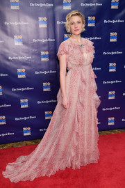 Greta Gerwig looked princess-y in a flowing pink snakeskin-print gown by Gucci at the 2017 Gotham Independent Film Awards.