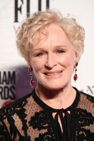 Glenn Close wore her hair in a short curly style at the 2018 Gotham Independent Film Awards.