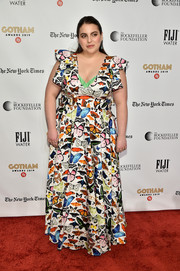 Beanie Feldstein looked vibrant in a multicolored butterfly-print gown by Mary Katrantzou at the 2019 Gotham Independent Film Awards.