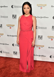 Constance Wu went for an eye-popping hue with this raspberry column dress by Zuhair Murad at the 2019 Gotham Independent Film Awards.
