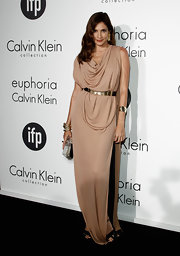 Astrid Munoz looked like a Grecian goddess in this draped nude gown at the Women in Film celebration.