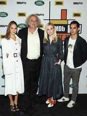 Elle Fanning teamed her dress with a pair of two-tone loafer heels.