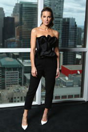 Kate Beckinsale looked pretty in a strapless ruffle-bodice jumpsuit by Johanna Ortiz while visiting the IMDb Studio.