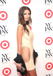 Emily Ratajkowski paired a mesh-embellished hard-case clutch with a racy cutout dress for the IMG + Target official NYFW kickoff.