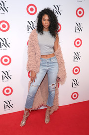 Chanel Iman sported her usual crop-top look when she attended the IMG + Target official NYFW kickoff.