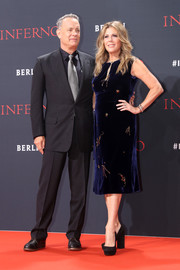 Rita Wilson was classic in a beaded blue velvet dress by Prada at the German premiere of 'Inferno.'