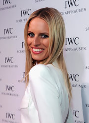Karolina Kurkova wore her hair in super-straight layers while attending the IWC flagship boutique opening in NYC.