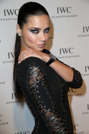 Adriana Lima looked bold and vampy with her smoky eye makeup at the IWC gala.
