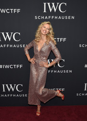 Karolina Kurkova looked downright fab in a shimmery pink jumpsuit by Temperley London at the IWC Schaffhausen Tribeca Film Fest event.