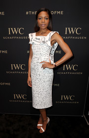 Naomie Harris completed her monochrome look with a pair of Francesco Russo sandals.