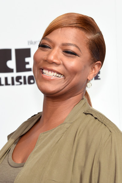 Queen Latifah looked chic with her sleek side-parted ponytail at the New York screening of 'Ice Age: Collision Course.'