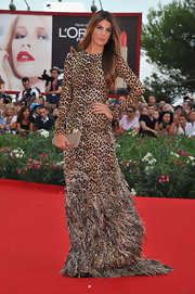 Biance Brandolini donned a fierce look to 'The Ides of March' premiere. She opted for an animal-print gown complete with a feathered hemline.