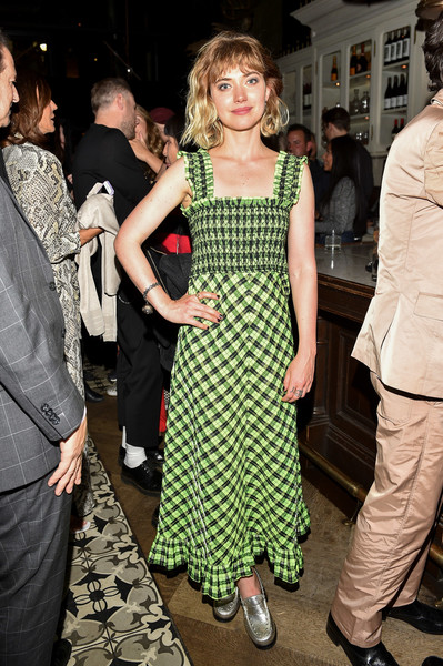 Imogen Poots Print Dress [castle in the ground,clothing,fashion,dress,event,fashion design,pattern,cocktail dress,style,haute couture,fashion model,imogen poots,weslodge,toronto,canada,world premiere party,toronto international film festival]