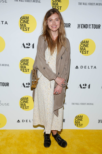Imogen Poots Trenchcoat [the end of tour,clothing,yellow,outerwear,premiere,fashion,footwear,carpet,fashion design,flooring,red carpet,opening night screening - arrivals,imogen poots,new york city,bam howard gilman opera house,screening]